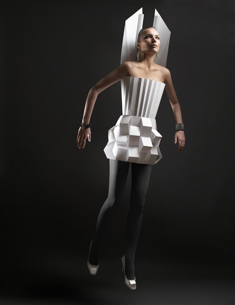 Paper Cloth by Alexandra Zaharova & Ilya Plotnikov with futuristic style in white color